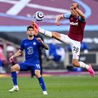 West Ham United's Tomas Soucek (right) and Chelsea's Christian Pulisic battle for the ball during th