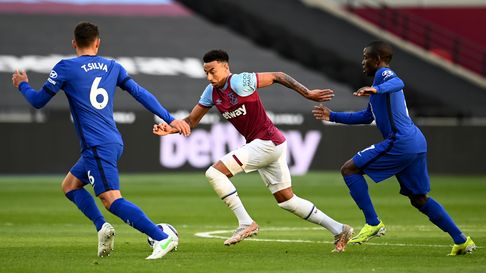 West Ham United's Jesse Lingard (centre) in action during the Premier League match at London Stadium