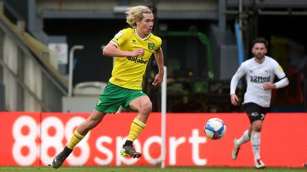 Todd Cantwell of Norwich in action during the Sky Bet Championship match at Pride Park Stadium, Derb