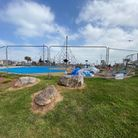 The wtich's hat climbing frame at the Geoplay Park in Paignton