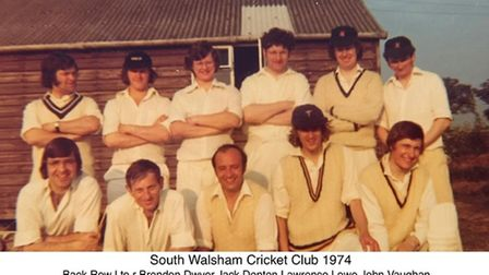 Alex Evans and John Vaughn at South Walsham Cricket Club in 1974