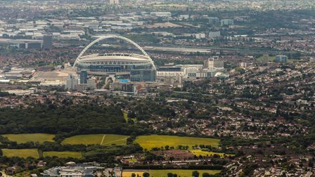 An aerial view of Wembley Stadium in London.