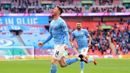 Manchester City's Aymeric Laporte celebrates scoring their side's first goal of the game during the