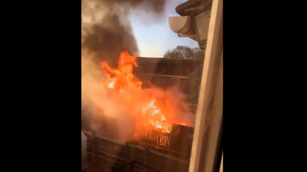A screengrab from a video of the fire which caused damage to gardens in Knowland Grove, Norwich, on Saturday.