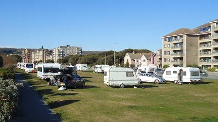 Travellers on the Beach Lawns in Weston.