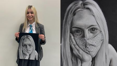 Cromer Academy student Grace Gascoyne with the Covid-19-inspired portrait of her friend, Eve Armstrong.