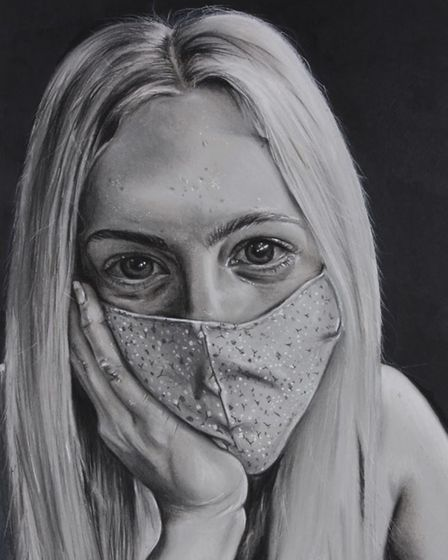 Cromer Academy student Grace Gascoyne's Covid-19-inspired portrait of her friend, Eve Armstrong.