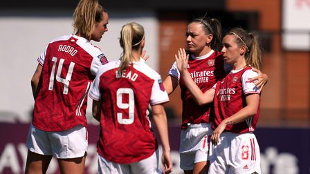 Arsenal's Jordan Nobbs (right) celebrates scoring their side's first goal of the game with team-mate