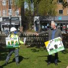 Tina Da Costa from Wanstead Climate Action withMP John Cryer, MP at a demonstration calling for more green jobs.