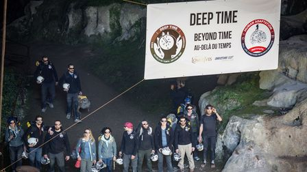 Volunteers leave the Lombrives cave in Ussat-les-Bains after spending 40 days without mobile phones or natural light