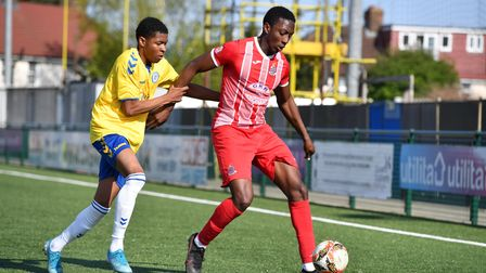 Olamiji Ayoola of Redbridge and Reece Antoine-Dacosta of Woodford during Woodford Town vs Redbridge,