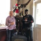 Tollington Arms landlord Martin Whelan with former Arsenal striker Kevin Campbell