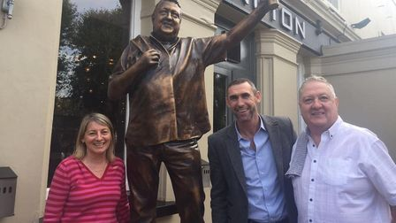 Tollington Arms landlord Martin Whelan with his partner Louise and former Arsenal defender Martin Keown