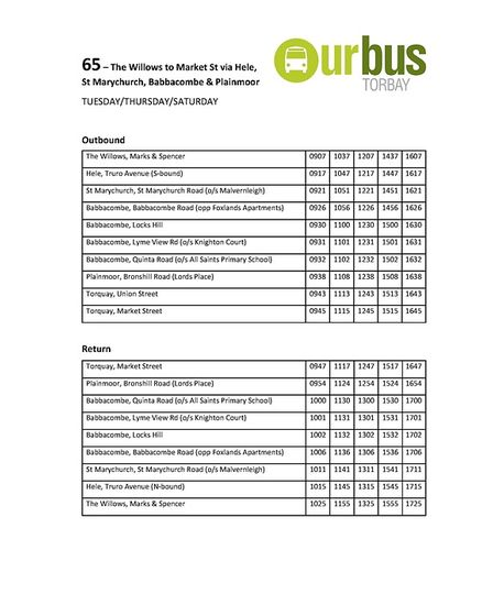 Timetable for the 65 bus route in Torquay