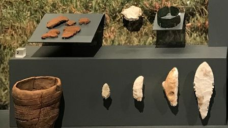 The Bronze age bracelet and flint dagger at Corinium Museum, on loan from The British Museum
