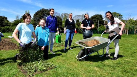 Planting an orchard and meadow area at Parliament Hill School on 24.04.21.Bringing turfs of the mea