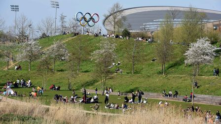 Making the most of the good Easter Sunday weather in the Queen Elizabeth Olympic Park