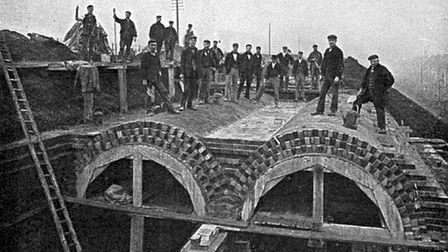 1860s... Workers competing Joseph Bazalgette's Northern Outfall sewer at Becton. Picture: Totally Th