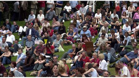 The audience at one of the stages at Ipswich Music Day in 2003