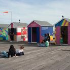 Essex beach huts during Estuary festival 2016 (Wish You Were Here art installation)