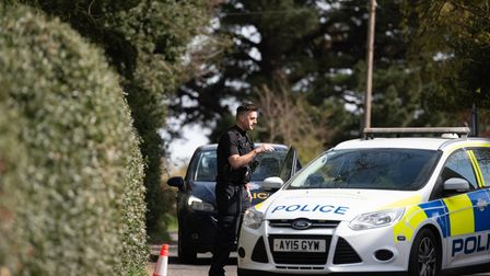 Police attend the scene of an attempted murder on Levington Road towards Nacton. A cordon remains i
