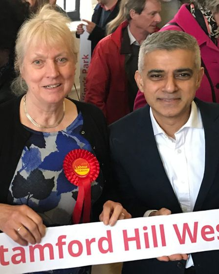 Rosemary Sales, Stamford West Labour candidatewith Mayor of London, Sadiq Khan.