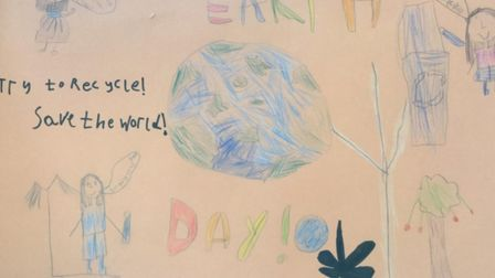 Earth Day poster by Stevenage Woolenwick Infant and Nursery School pupil