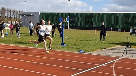 Jak Wright and Bradley Deacon battling it out in the 800m race