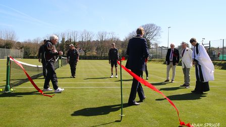 Vicar Rev'd Will Warren read a prayer and a blessing at the reopening of Cromer Tennis Club's grass courts.