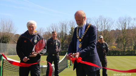 At the reopening of Cromer Tennis Club's grass courts