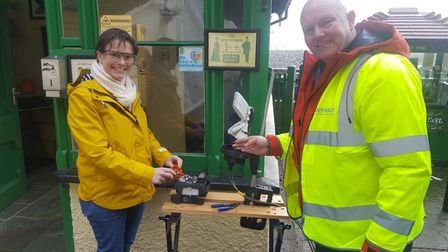 Selaine Saxby MP, splicing the final fibre connecting Lynton to Lynmouth via the iconic funicular railway