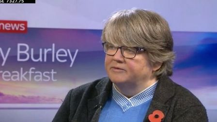Therese Coffey on Kay Burley at Breakfast. Photograph: Sky News.