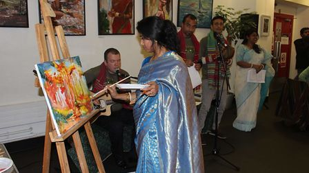 ArtistMukta Chakravarty with her show Trebeni: The Rhythm of Water at the Brady Arts centre in Tower Hamlets.