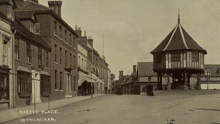 Black and white picture of the Market Place in Wymondham