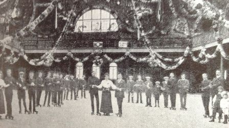 Skaters line up at the Roller-Skating Rink at the Agricultural Hall in around 1905