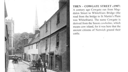 A horse and cart wait outside a house in Cowgate Street, Norwich
