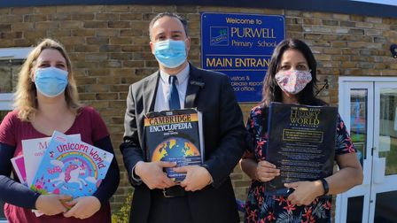 L to R: Just Be A Child'sLenka McAlinden, Purwell Primary's head Richard Cano and Suki Barhey