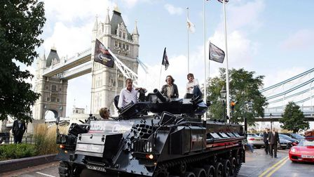 Clarkson, Hammond and May launch Top Gear Live by driving a tank across London Bridge