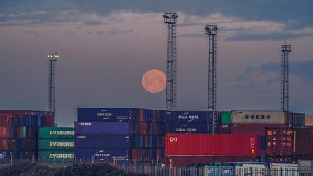 Pink moon over Port of Felixstowe