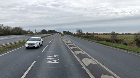 The slip road onto the A14 westbound carriageway at Nacton is closed as well as lane one