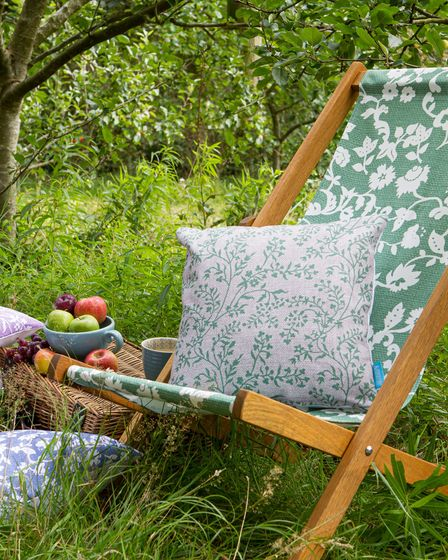 Cottage Collection Green Meadow Flower Deckchair, Blue Meadow Flowers Cushion, Perkins &Morley.
