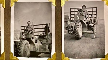 A scrapbook with five images. In the top three, people ride on tractors.