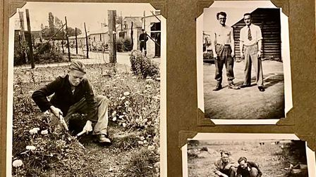 A scrapbook featuring three images.