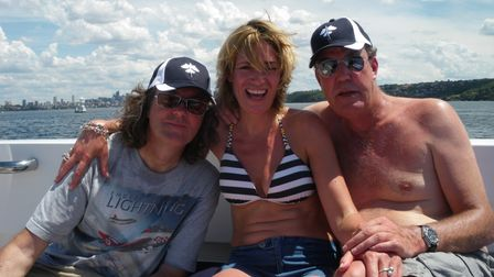 Philippa Sage aboard the super yacht, The Flying Fish, with Clarkson and May in Sydney, Australia