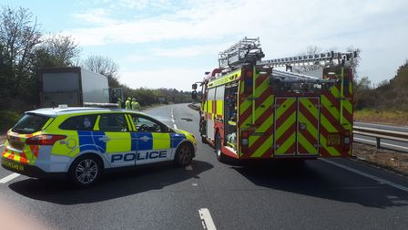 The A14 is closed at Nacton after a diesel spill from a broken down lorry