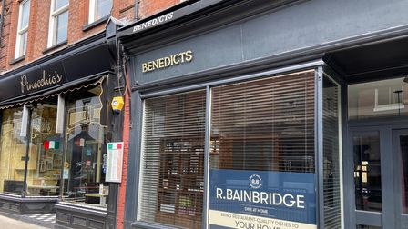 Pinocchio's Italian restaurant and Benedicts restaurant on St Benedicts street in Norwich, pictured in April 2021.