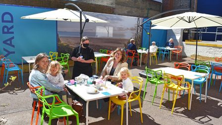 The Yard outdoor café at The Marina Theatre in Lowestoft.