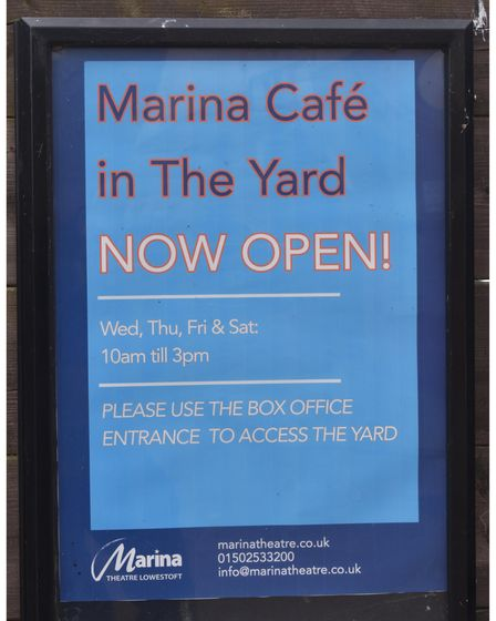 The Yard outdoor café at The Marina Theatre in Lowestoft is now open.