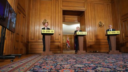 Chief Medical Officer for England Chris Witty, Prime Minister Boris Johnson, Chief Scientific Adviser Sir Patrick Vallance...