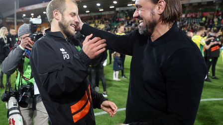 Norwich Head Coach Daniel Farke celebrates promotion with Teemu Pukki of Norwich at the end of the S